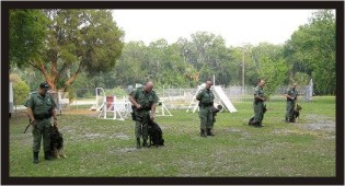 5 of the 15 sheriff K9's with their handlers, who received a bullet/stab resistant vest